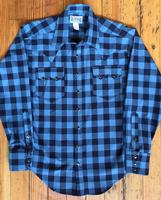 Rockmount Ranch Wear Men's Western Shirt: Winter Flannel Plaid A Buffalo Check Blue Black S-XL