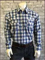 Rockmount Ranch Wear Men's Western Shirt: A Buffalo Check Blue Grey