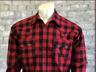 Rockmount Ranch Wear Men's Western Shirt: Winter Flannel Plaid A Buffalo Check Red Black S-XL