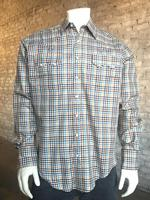 Rockmount Ranch Wear Men's Western Shirt: A Check Windowpane Yellow Brown Navy 2X