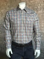 Rockmount Ranch Wear Men's Western Shirt: A Check Windowpane Yellow Brown Navy