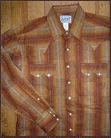 ZSold Rockmount Ranch Wear Men's Western Shirt: A Stripe Retro Dobby Brown Lurex 2XL SOLD