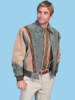 Scully Men's Leather Jacket: Casual Suede w Knit Inset Green and Tan S SALE
