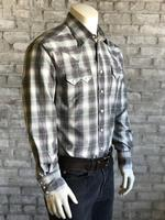 Rockmount Ranch Wear Men's Western Shirt: A Plaid Dobby Retro Grey 2X and Talls Backordered
