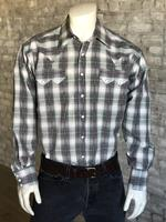 B Rockmount Ranch Wear Men's Western Shirt: A Plaid Dobby Retro Grey 2X and Talls Backordered