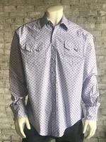 Rockmount Ranch Wear Men's Western Shirt: Print Dobby Blue Red 2X