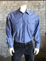 Rockmount Ranch Wear Men's Western Shirt: Print Chambray Dobby Blue