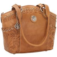 American West Handbag Harvest Moon Collection: Leather Zip Top Bucket Tote Golden Tan