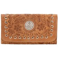 American West Handbag Harvest Moon Collection: Leather Tri-Fold Wallet Golden Tan
