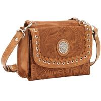 American West Handbag Harvest Moon Collection Crossbody Bag and Wallet Golden Tan