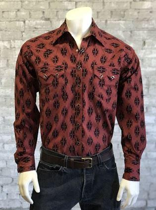 Rockmount Ranch Wear Men's Western Shirt: Print Native Pattern Brick S-XL