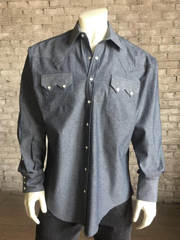 Rockmount Ranch Wear Men's Western Shirt: Blue Denim Chambray