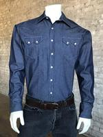 B Rockmount Ranch Wear Men's Western Shirt: Denim Dark Blue Slim Fit Backorder