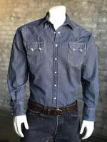 B Rockmount Ranch Wear Men's Western Shirt: Denim Railroad Stripe Backordered