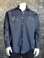 B Rockmount Ranch Wear Men's Western Shirt: Denim Railroad Stripe 2X Backordered