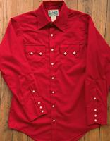 Rockmount Ranch Wear Men's Western Shirt: Solid Cotton Blend Sawtooth Pocket Red Slim Fit