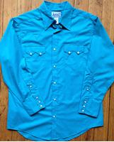 Rockmount Ranch Wear Men's Western Shirt: Solid Cotton Blend Sawtooth Pocket Turquoise Slim Fit