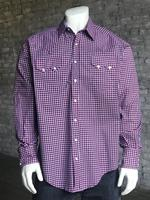 Rockmount Ranch Wear Men's Western Shirt: A Check Windowpane Red White Blue 2X