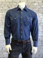 Rockmount Ranch Wear Men's Western Shirt: Denim Dark Blue Longmire Talls 2X-4X Backordered