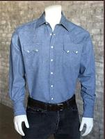Rockmount Ranch Wear Men's Western Shirt: Denim Light Wash Backordered
