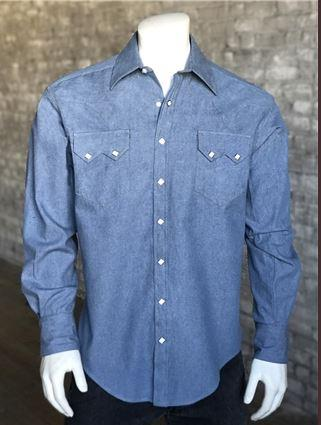 Rockmount Ranch Wear Men's Western Shirt: Denim Light Wash S-XL