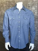Rockmount Ranch Wear Men's Western Shirt: Denim Light Wash 2XL