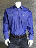 B Rockmount Ranch Wear Men's Western Shirt: Dress Shirt Pima Cotton Blue Backorder