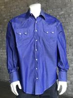 B Rockmount Ranch Wear Men's Western Shirt: Dress Shirt Pima Cotton Blue 2X Backorder