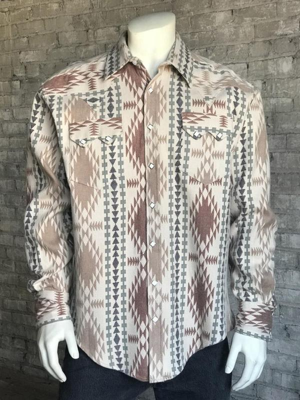 Rockmount Ranch Wear Men's Western Shirt: Winter Flannel Jacquard Brown Backordered