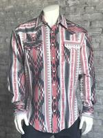 Rockmount Ranch Wear Men's Western Shirt: Winter Flannel Jacquard Black