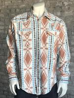 Rockmount Ranch Wear Men's Western Shirt: Winter Flannel Jacquard Ivory