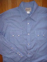 ZSold Rockmount Ranch Wear Men's Western Shirt: Dress Shirt Pima Cotton Basket Weave Blue SOLD