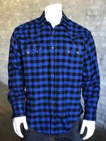 Rockmount Ranch Wear Men's Western Shirt: Winter Flannel Plaid Blue Black 2X