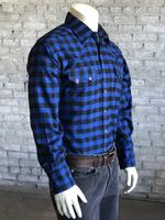 Rockmount Ranch Wear Men's Western Shirt: Winter Flannel Plaid Blue Black