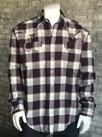 Rockmount Ranch Wear Men's Western Shirt: Winter Flannel Plaid Burgundy