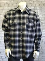 Rockmount Ranch Wear Men's Western Shirt: Winter Flannel Plaid Black 2XL