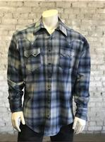 Rockmount Ranch Wear Men's Western Shirt: Winter Flannel Plaid Blue Grey 2XL
