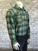 Rockmount Ranch Wear Men's Western Shirt: Winter Flannel Plaid Green Turquoise 2XL