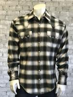 Rockmount Ranch Wear Men's Western Shirt: Winter Flannel Plaid Green 2X