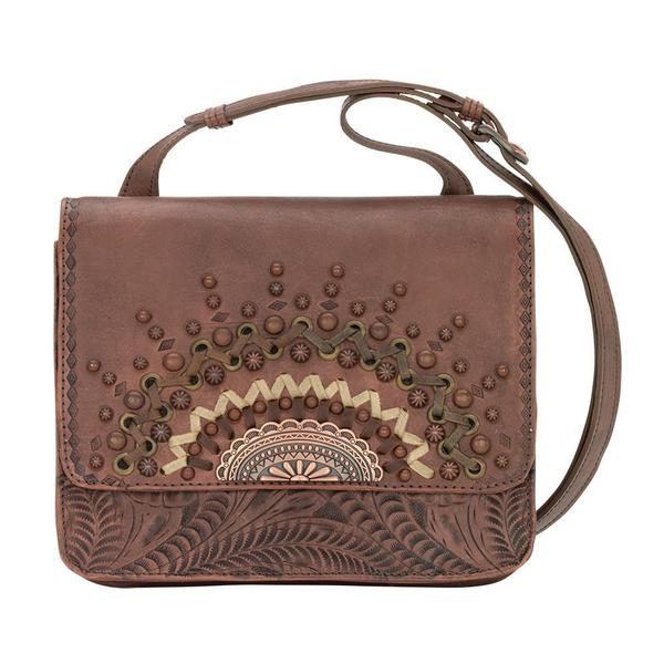A American West Handbag Bella Luna Collection Leather Multi Compartment Crossbody Dusty Rose
