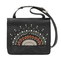 A American West Handbag Bella Luna Collection: Leather Multi Compartment Crossbody Black