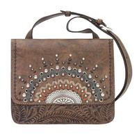 A American West Handbag Bella Luna Collection: Leather Multi Compartment Crossbody Charcoal Brown