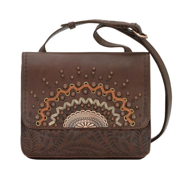 A American West Handbag Bella Luna Collection: Leather Multi Compartment Crossbody Chestnut Brown