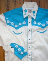 Rockmount Ranch Wear Men's Vintage Western Shirt: Fancy Elvis Cream and Turquoise M