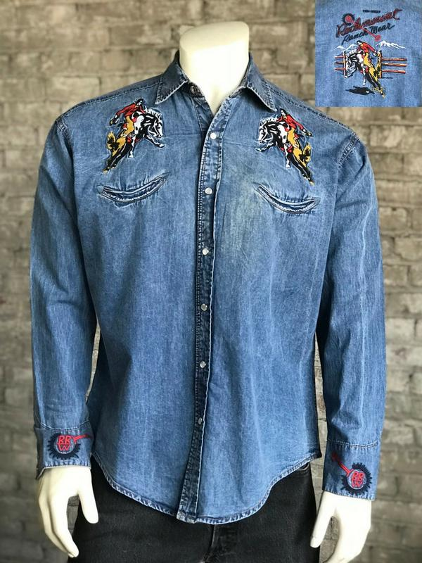 Rockmount Ranch Wear Men's Vintage Western Shirt: A A Rockmount Bronc Denim