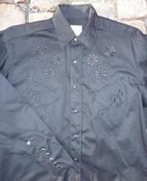 ZSold Rockmount Ranch Wear Men's Vintage Western Shirt: Fancy Classic Tone on Tone Floral Embroidery Black 2X SOLD