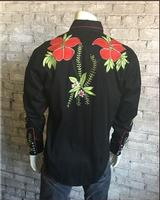 Rockmount Ranch Wear Men's Vintage Western Shirt: Fancy Hawaiian Hibiscus Black 2X