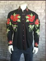 Rockmount Ranch Wear Men's Vintage Western Shirt: Fancy Hawaiian Hibiscus Black Backordered