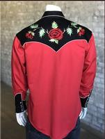 Rockmount Ranch Wear Men's Vintage Western Shirt: Fancy Flowers 2 Tone Nashville Rose Red and Black 2X