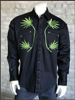 Rockmount Ranch Wear Men's Vintage Western Shirt: Cannabis Cowboy Black